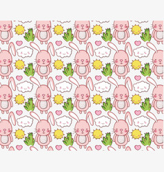 Cute bunny and nature cartoons background vector