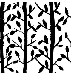 grunge tree leaves seamless pattern black and vector image