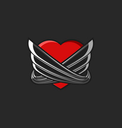 heart with wings logo tattoo mockup on black vector image vector image