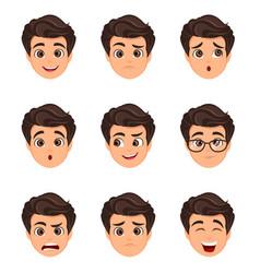 Male emotions set facial expression cartoon vector
