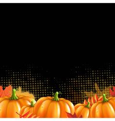 Orange autumn leafs and pumpkins frame vector