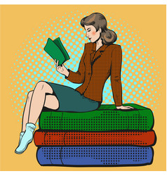 pop art of young woman reading vector image