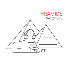 sphinx and pyramid egypt line icon vector image vector image