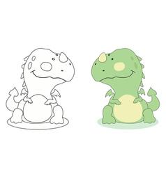 cartoon dragon outline vector image vector image