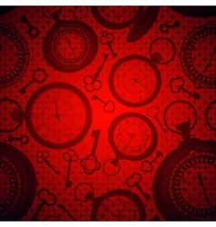 Deep red background with clocks and keys vector image vector image