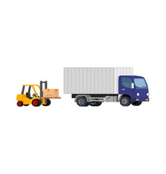 forklift loading truck vector image vector image