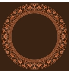 Greek traditional round frame in golden color vector image vector image