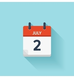 July 2 flat daily calendar icon Date and vector image