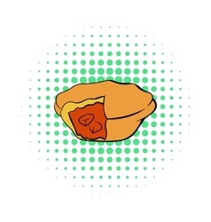 Meat pie icon in comics style vector image