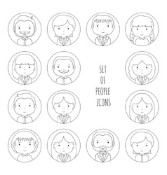 Set of line silhouette office people icons vector image vector image