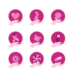 breast cancer awareness pink support icon set vector image