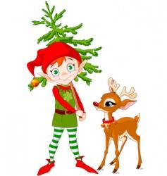 elf and Rudolf vector image vector image