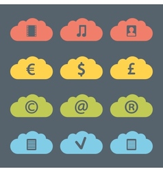 Flat clouds icon set vector