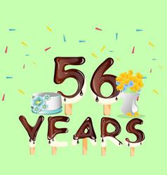 happy birthday fifty six 56 year vector image vector image