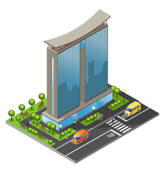 isometric office building concept vector image vector image