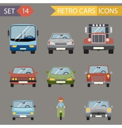 Modern Flat Design Symbols Stylish Retro Car Icons vector image vector image