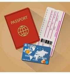 Passport boarding pass ticket bank card vector image