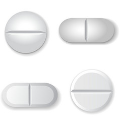 Tablets and pills set isolated on white background vector image