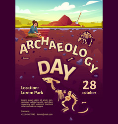Archaeology day poster with excavation site vector