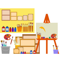 art studio with artist tools vector image