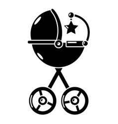 Baby carriage star icon simple black style vector