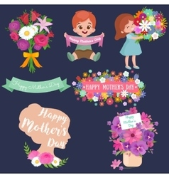 Baby girl and boy with bouquet flowers Happy vector