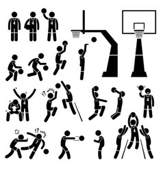 basketball player action poses stick figure vector image