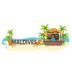 Beach bar maldives travel palm drink summer vector