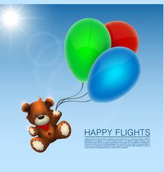 bear flies on the balloons vector image