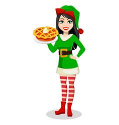 Beautiful woman in costume elf vector