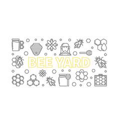 Bee yard outline horizontal banner or vector