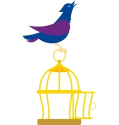 bird on cage vector image