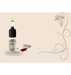 bottle wine spilt red wine background vector image