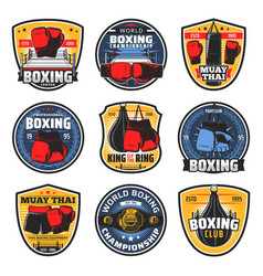 boxing muay thai icons kickboxing fighter arts vector image