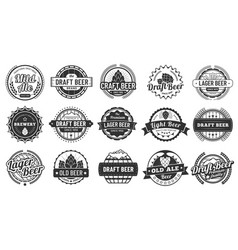 brewery beer badges craft beers emblems hop vector image