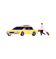 Businessman get in taxi man catches auto young vector