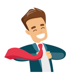 businessman opening his jacket like superhero vector image