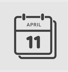 calendar day 11 april days year vector image