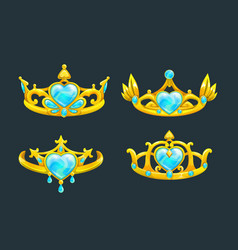 Cartoon golden princess crowns set vector