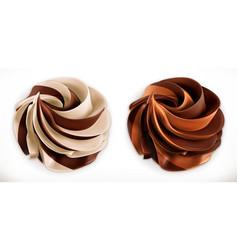 chocolate swirl duo spread 3d realistic icon vector image