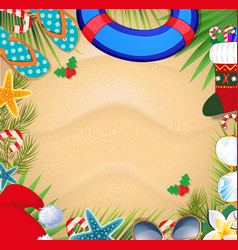 Christmas beach frame with space for text vector