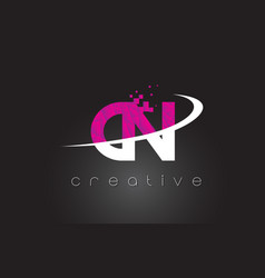 Cn c n creative letters design with white pink vector