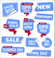 collection blue sale stickers and tags vector image