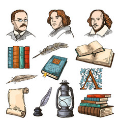 Colored symbols of literature and theatre doodle vector