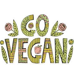 colorful go vegan lettering vector image