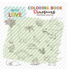 coloring page anti stress with dinosaurs set and vector image