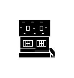 cottage black icon concept cottage sig vector image