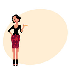 curvy italian woman in fashionable clothes holding vector image