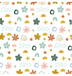 Cute simple pattern with different hand painted vector