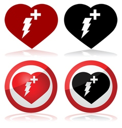 Defibrillator icons vector image